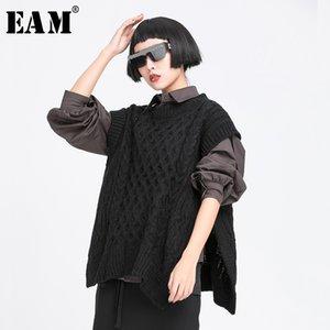 [EAM] Siyah Büyük Beden Vent Örme Triko Gevşek Fit Yuvarlak Yaka Kolsuz Kadınlar Kazaklar Yeni Moda Tide İlkbahar 2020 1W758