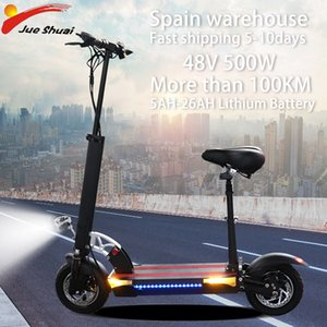100KM 48V 500W Electric Scooter with seat 48V 5-26AH Battery Foldable Hoverboard 10inch Fat Tire Electric Kick Scooter Escooter