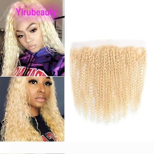 Peruvian Human Hair 13X4 Lace Frontal With Baby Hair Blonde 613# Deep Wave Curly Blonde 13 By 4 Frontal Kinky Curly Yirubeauty