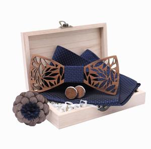 Классический ручная работа мужского Wood Bow Tie с Matching Платком и для мужчин Запонки Комплект Бесплатная доставка
