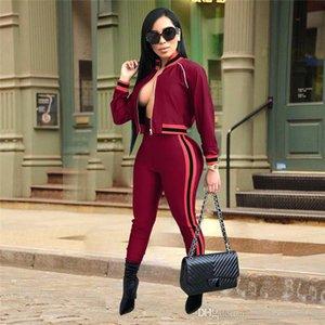 Primavera Pure Color Donne Tute stilista Zip Neck Female 2PC insieme casuale Panelled allentato Sport Abbigliamento Donna