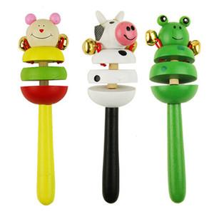 16CM colorato in legno Rattle bambini del fumetto Bambini Animal Color Giocattoli caso di Bell Shaker Stick giocattolo di giocattoli educativi P0