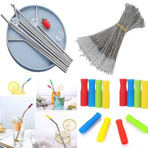 Düz Bent Stil Metal Hasır 6mm Straw Kol Koruyucu Ve Paslanmaz Çelik Hasır Brush İçme 6 * 215mm Paslanmaz Çelik Yeniden kullanılabilir Pipetler
