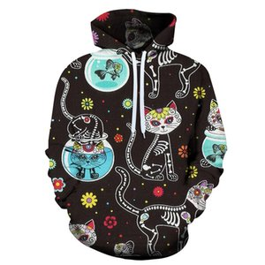 Il nuovo modo di autunno della molla uomini e donne Animali Naive Gatti 3D con cappuccio Cat Gioco Uomini Pullover Felpe Hip Hop Tops