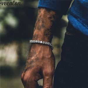 Vecalon 테니스 팔찌 8mm 다이아몬드 화이트 옐로우 골드 채워진 웨딩 여성을위한 남성용 팔찌 Hiphop Party Jewelry Gift