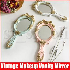 선물에 대한 핸들 귀여운 크리 에이 티브 나무 빈티지 손 거울 메이크업 화장 거울 사각형 손을 잡아 화장품 거울