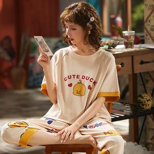 Pyjamas Frauen-Sommer-Pyjamas Frauen-Cotton Nachtwäsche Short Sleeve Cartoon-Ente Weibliche Homewear Pyjamas für Frauen