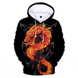 Tops Roupa criativo Hoodie da fada Anime Dragão hoodies camisolas dos homens / meninos Steetwear Crianças Oversize dos homens do dragão 3D