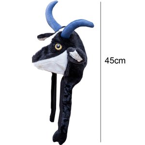 Cute Plush Animal Hat Funny Winter Plushy Antelope Yak Cap Halloween Xmas Headwear Dress up Cosplay Costume