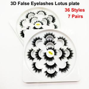 7 Paare falsche Wimpern Wimpern des Nerz-3D 5D Wimpern-handgemachtes Augenmake-up Faux-Wimpern-natürliche starke weiche Wimper 36 Arten Lotus-Platte