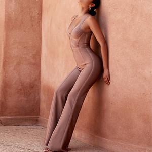 Seamyla 2019 Nuova fasciatura delle tute sexy delle donne senza maniche Boot Cut pagliaccetti aderente Tuta Summer Club Partito lunghi Body Y19060501
