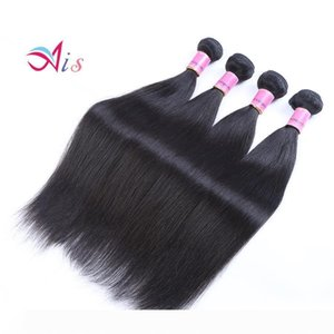 Ais Hair Brazilian Virgin Human Hair Extensions Weaves 4 Bundles Straight Natural 1B Color 8-30 inches Indian Peruvian Malaysian Hair