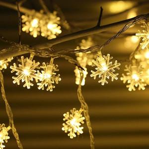 Garland férias Flocos de Cordas Fada Luzes LED a pilhas de suspensão do partido ornamento Home Decor Lamp