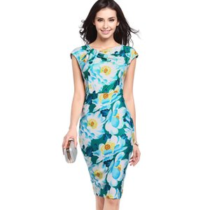 High Quality Printed Dresses for Women Slim Slimming Large Size Round Veck Midi Pencil Skirt Dress