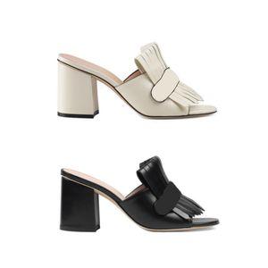 Ultima piattaforma sandali estivi Tacchi alti scivolare scarpe da donna in pelle scamosciata con frange doppio tono Vintage metà tacco scarpe 15 colori