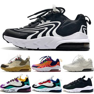 New React Bauhaus TD Kids Shoes Boy Girls Running Shoes Black White Hyper Bright Violet Toddler Children Sneakers 28-35