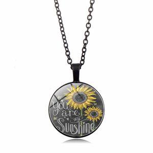 201910 più nuove donne della collana di You Are My Sunshine Girasole breve collana della clavicola Sweeter collane della catena dei monili di fascino accessori M173Y