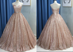 Moda Rosa de Ouro 2021 da fita do espartilho Prom Quinceanera vestidos baratos Querida Com o Crystal Longo baratos Designer vestidos de noite formais