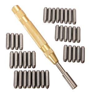 Lettre 38pcs automatique Numéro cuir Emboutissage poinçon métal Stamp Set Tool Kit pour les plastiques en cuir métal punch Enseigne d'imprimeur Stamp Die