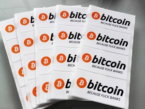 3000pcs 8x4cm bitcoin because love bank stickers Self-adhesive cryptocurrency label with gloss lamination on surface, Item No. FS19