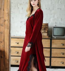 Яо Ting раздел взрыва бархат халат осень и зима дамы длинный шнурок боковой разрез юбка халаты двухсекционный оптом