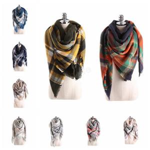 140 * 140см плед шарфы девушки шали сетка обертывания решетки квадратный шею шарф бахромой пашмины зимние шейные платки LJJA2773