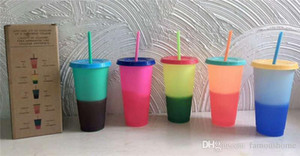 HOT 24 oz cambio de color Vaso Magic Copas reutilizables de plástico con tapa y caramelo paja de colores potable fría vaso de color mágico que cambia la cubiletes