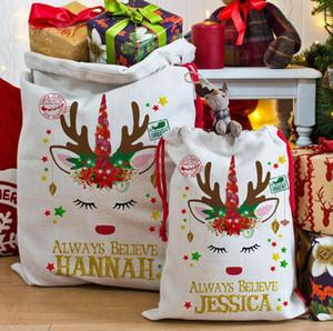 أكياس هدايا عيد الميلاد كبيرة عضوية يونيكورن حقيبة عيد الميلاد كيس الرباط حقيبة مع الرنادير سانتا كلوز كيس أكياس للأطفال LJJA2970