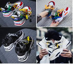 2020 INS ABO shoes Chain Reaction ulzzang Dad черные кроссовки белая сетка резиновая кожа плоские Мужчины Женщины