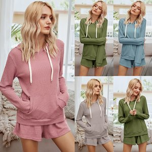 2020 Women Two Pieces Sets New Fashion Womens Autumn Long Sleeve Tracksuit Tops Hoodies + Shorts Pants Set Waffle Knitted Tracksuit