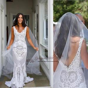 2019 increíbles vestidos de novia de sirena de encaje Trompeta modesta Vestidos de novia Tren de barrido con velo Vestido de novia boho africano más el tamaño por encargo
