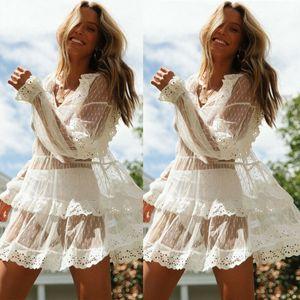 New Verão Mulheres Bikini Cover Up Floral Lace oco Crochet Swimsuit Cover-Ups Terno Beachwear Túnica Vestido Praia