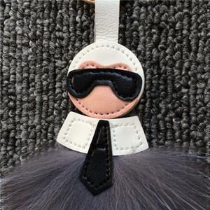 패션 키 체인 보석 가방 모피 여우 머리 전구 가죽 술 펜던트 럭셔리 선물 가방 의류 신발 모자 액세서리 열쇠 고리 002을 걸어
