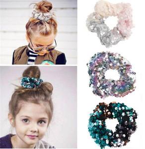 Girls Two-tone Mermaid Sequin Elastic Hair Bands Ponytail Holder Scrunchies Tie Hair Rubber Band Headband Women Hair Accessories T266