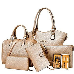 Femmes Sacs à bandoulière 6pcs / set New Woman Messenger Bag de haute qualité Sacs à main en cuir, Porte-monnaie, sac, carte Outils à ongles