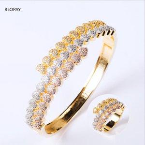 New Love Heart Bangle Ring Set Multicolor placage complet zircon cubique Bracelets Cadeaux pour la Saint-Valentin Journée de la femme
