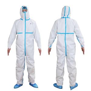 SMMS dokumasız bir beyaz Coverall tehlikeli madde Takım Koruma Koruyucu Tek İzolasyon elbisesi Giyim Fabrika Emniyet Giyim