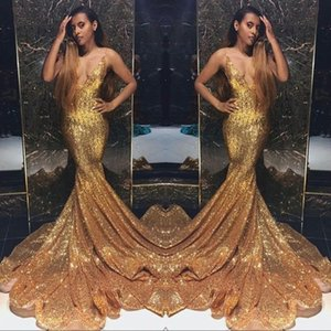 Paillette scintillanti dorate Prom Dresses a sirena Lunghe profonde scollo a V con perline Pietre Backless Sweep Train Party Abiti da sera