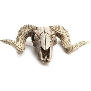 Creative Resin Sheep Head Skull Head Wall Hanging 3D Animal Longhorn Sculpture Figurines Crafts Horns Home Decor Ornaments