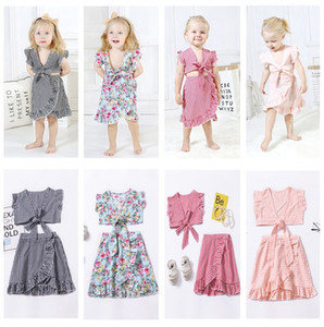 Baby Girls Sets INS Kids Fashion Plaid Floral Bow Fly Sleeve Tops+Skirts 2 Pcs Set Sd 3 pcs Sets Kids Summer Fashion Outfits Infant Clothing