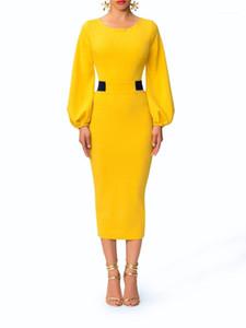 Damen Panelled Spalt Kleider Designer-Laterne-Hülsen-Kleid-Frauen-elegante süße Farbe Vintage-Kleider Mode Rundhalsausschnitt
