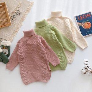Kış Yeni Geliş kore tarzı pamuk saf renk moda sevimli tatlı kız bebek için yüksek yaka kazak elbise hepsi maç kalınlaşmış
