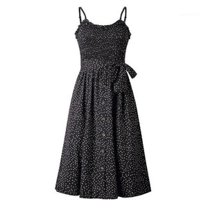 Imprimé à pois Ruffle Neck argent Mi-mollet Bouton bodycon Robes de fête Mode Jupe Casual Night Party Vêtements