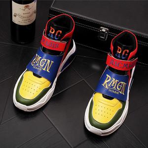 Erkekler Moda Karışık renk nakış Günlük Ayak bileği Boots Kış Yüksek Top Sneakers Erkek Gençlik Eğilimleri Ayakkabı