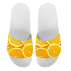 THIKIN Прекрасный оранжевый шаблон дизайна тапочки для женщин девушки дамы White Summer Beach Сандалии Daily House Обувь на заказ Логотип