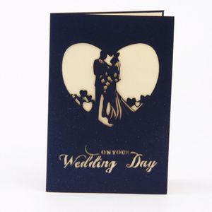 Складные свадебные приглашения Love Shape Card Карты День невесты с конвертом Приветствие 3D Hollow Red Color Печатная бумага Украшение Приглашение