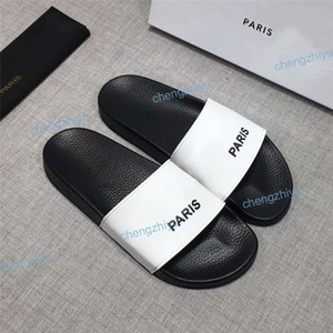 2019 Moda Erkek Kadın Sandalet Tasarımcı Ayakkabı Lüks Slayt Yaz Moda geniş Düz Kaygan Sandalet Terlik Flip Flop Çiçek Kutusu Boyutu 36-46