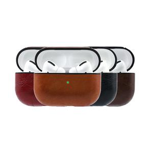 Pour AirPod Pro 3 cas en cuir PU Housse de protection anti-choc de charge écouteurs Portable Couverture vintage avec crochet anti-perte pour AirPod 1 2 3
