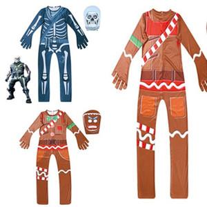 Tam Başkanı ile Çocuk İskelet bodysuit Korkunç Demon Şeytan Kafatası Tulumlar Cadılar Bayramı Cosplay Kostüm BODYCON Giyim 2 renk Maske