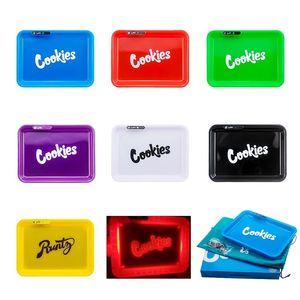 Carry Bag ile DHL Çerezler Glow Tepsi LED Işıklar Rolling Tepsi 278mm * 208mm Parlayan Işıklı 420 Kuru Ot Tütün Depolama Tepsi Tutucu